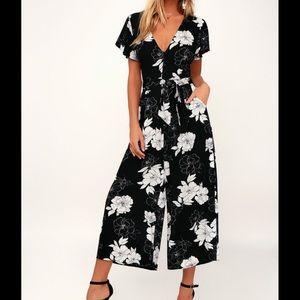 New Lulus Black Floral Culotte Jumpsuit